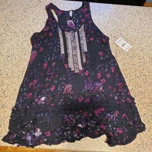 Free People NWT SZ M Black Comb Dress